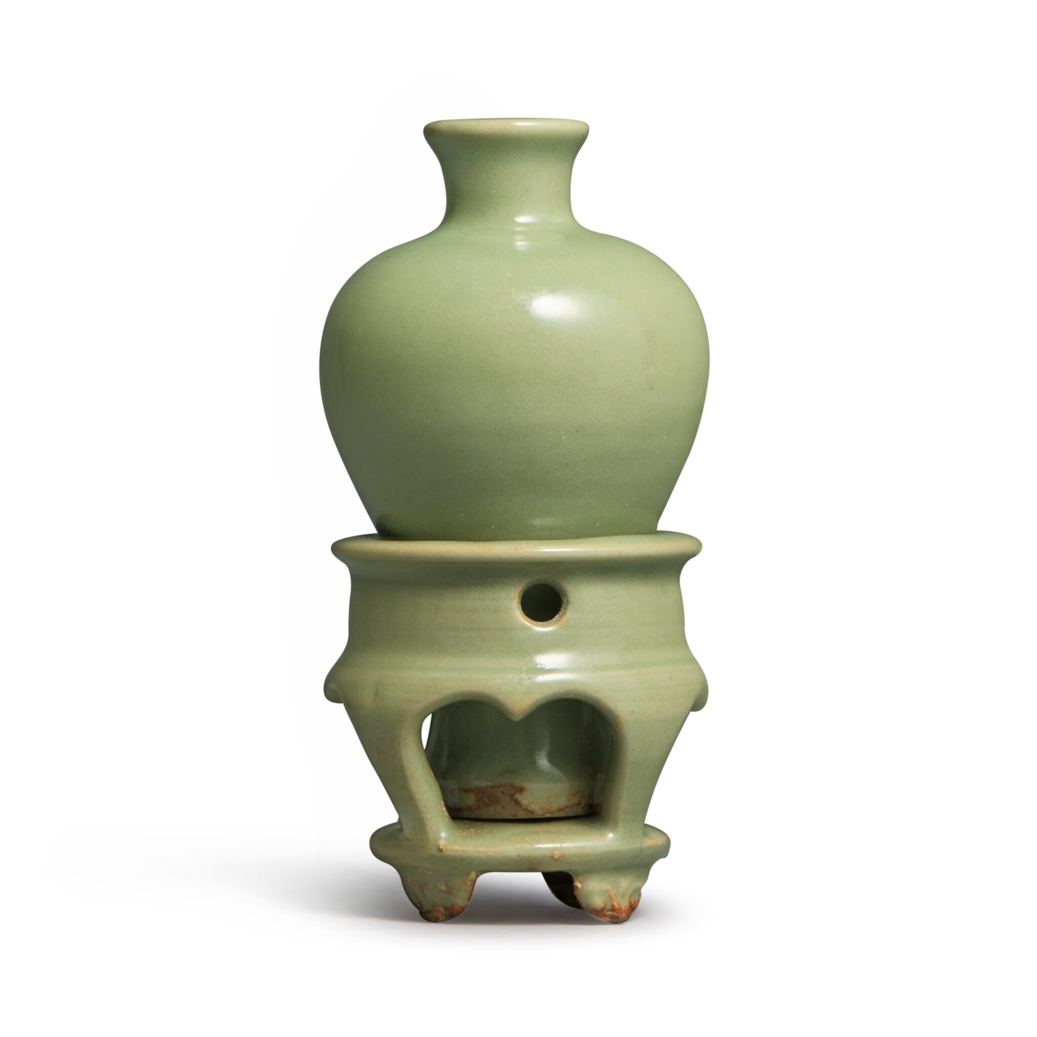 View full screen - View 1 of Lot 192. A small celadon-glazed meiping and stand, Yuan dynasty   元 青釉小梅瓶連座.