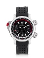 JAEGER-LECOULTRE | MASTER COMPRESSOR EXTREME W-ALARM ASTON MARTIN, REF 177847N LIMITED EDITION STAINLESS STEEL AND TITANIUM WORLD TIME WRISTWATCH WITH ALARM AND DATE CIRCA 2014