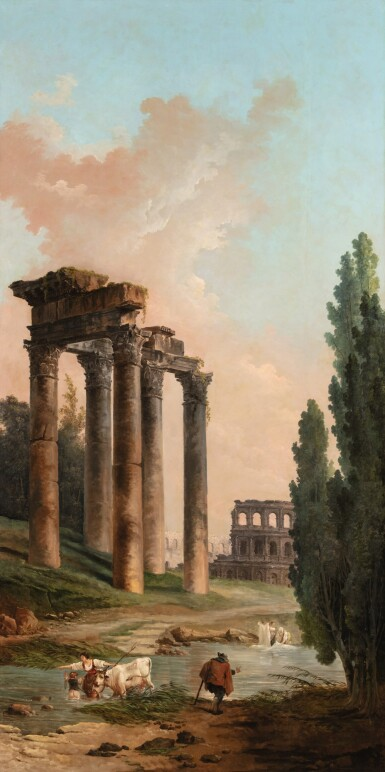 View 1. Thumbnail of Lot 36. Architectural capriccio with ruins of the Campo Vaccino and of the Colosseum.