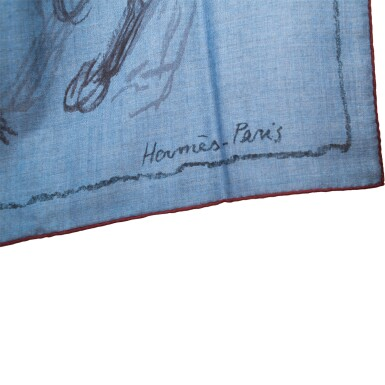 "View 3. Thumbnail of Lot 25. Hermès ""Pirouette au Galop"" Cashmere and Silk Shawl 140cm."