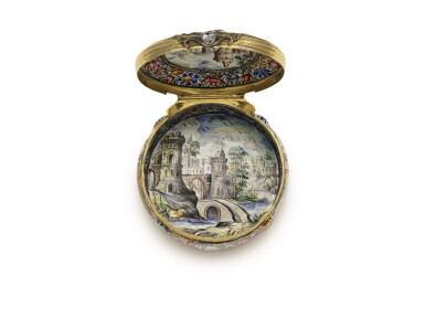 View 5. Thumbnail of Lot 1. An enamel snuff box with jewelled gold mounts, possibly Southern German, dated 1671.