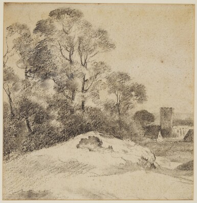 View 1. Thumbnail of Lot 597. ATTRIBUTED TO GEORGE FROST | A woodland landscape with a church beyond.