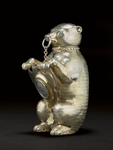 View 4. Thumbnail of Lot 6. A German silver-gilt cup and cover in the form of a bear, maker's mark only MV conjoined (the shield Melchior Bair), Augsburg, circa 1600.