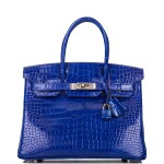 Hermès Bleu Electrique Birkin 30cm of Shiny Porosus Crocodile with Palladium Hardware