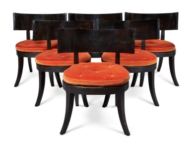 View 1. Thumbnail of Lot 112. A SET OF SIX KLISMOS TYPE CANED EBONY CHAIRS, MODERN.