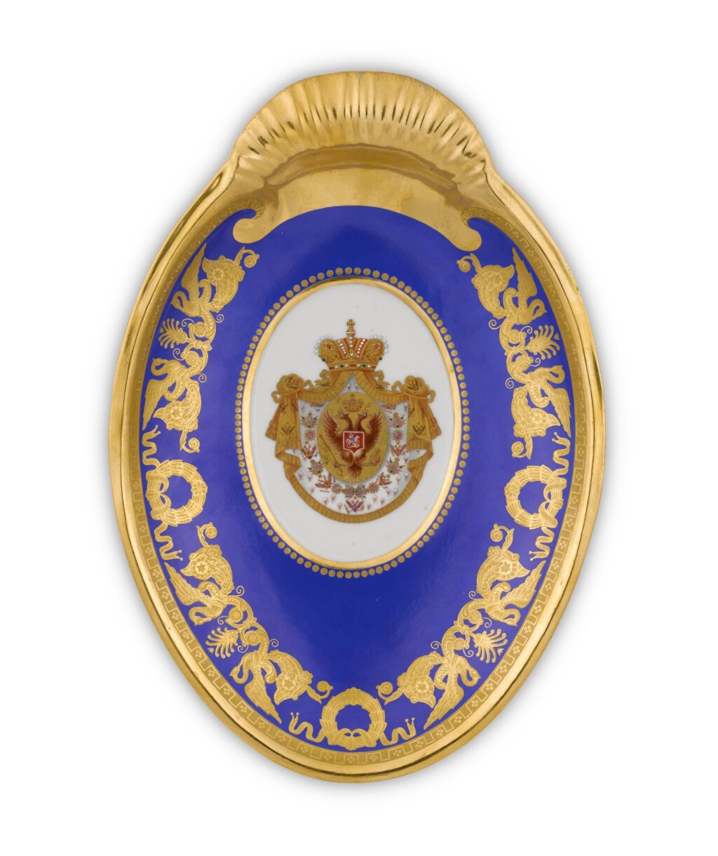 A PORCELAIN SERVING DISH FROM THE CORONATION SERVICE OF NICHOLAS I, IMPERIAL PORCELAIN FACTORY, ST PETERSBURG, PERIOD OF NICHOLAS I (1825-1855)