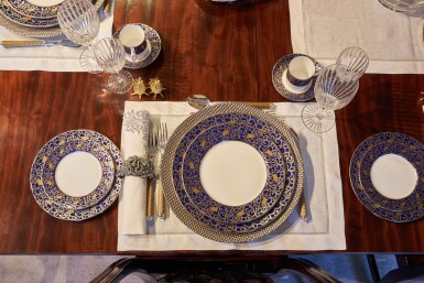 View 16. Thumbnail of Lot 44. An early 19th C Mahogany Dining Table by Gillow & Co. with a set of 12 carved Dining Chairs in the Chippendale Style, and a Thomas Goode 'Stewart' bone china part dinner and dessert service, and an original antique glass from the Thomas Goode archive, various dates.