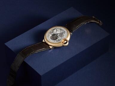 View 7. Thumbnail of Lot 13. Ballon Bleu, Ref. 3326 Limited edition pink gold tourbillon wristwatch with dual time indication Circa 2009.