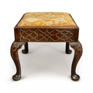 View 1. Thumbnail of Lot 567. A GEORGE II STYLE MAHOGANY STOOL, 19TH CENTURY.