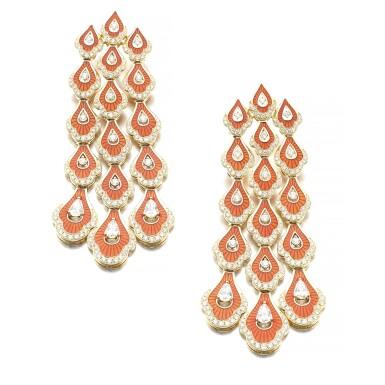 View 1. Thumbnail of Lot 1067. Pair of enamel and diamond earrings.