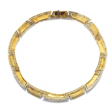 View 3. Thumbnail of Lot 1177. Gold and diamond necklace.