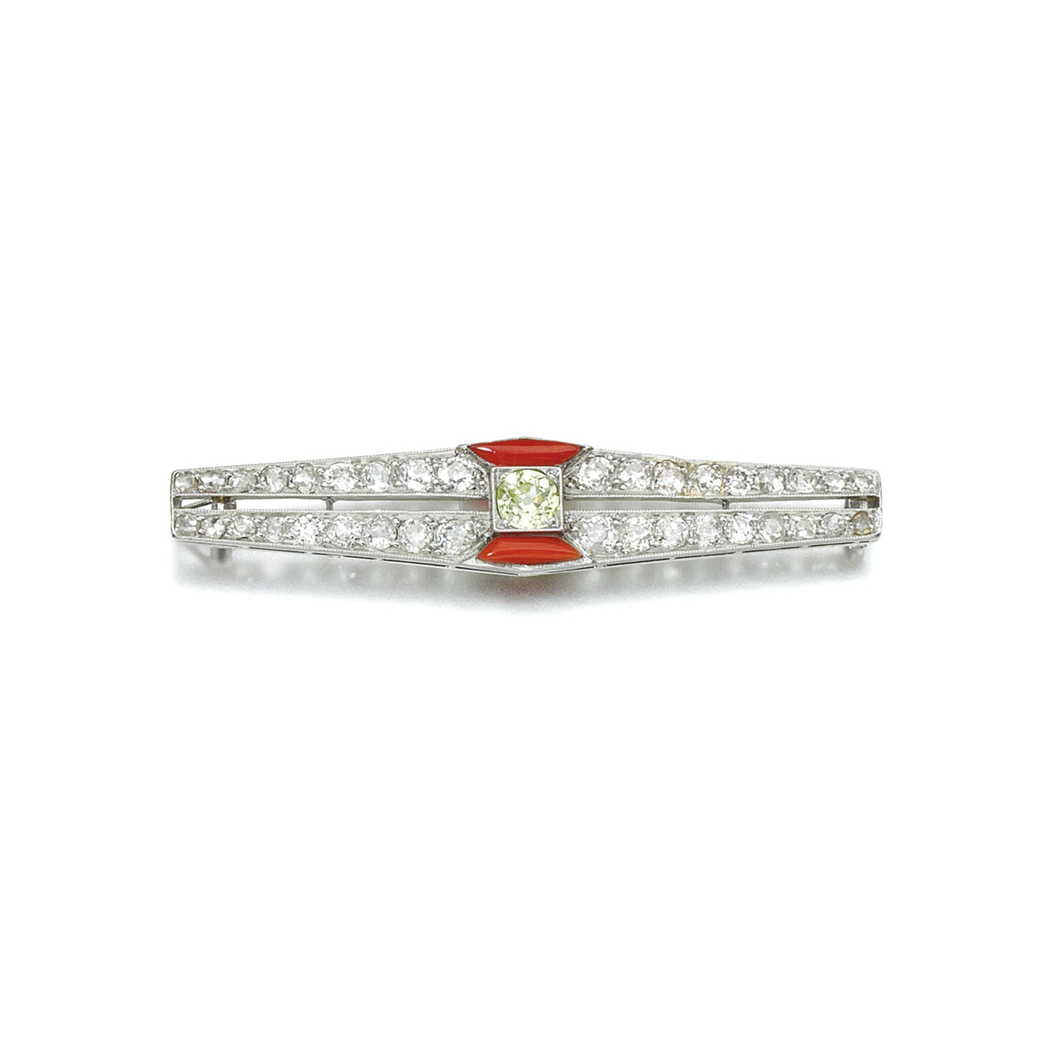 View 1 of Lot 13. CORAL AND DIAMOND BROOCH, JANESICH, 1920S.