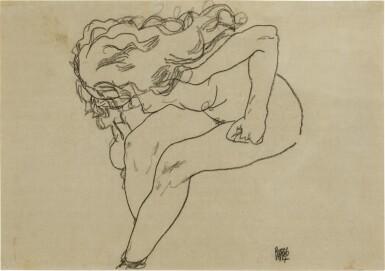 View 1. Thumbnail of Lot 119. Sich niederbeugender Mädchenakt mit aufgelöstem Haar (Bending Nude Girl with Loosened Hair).