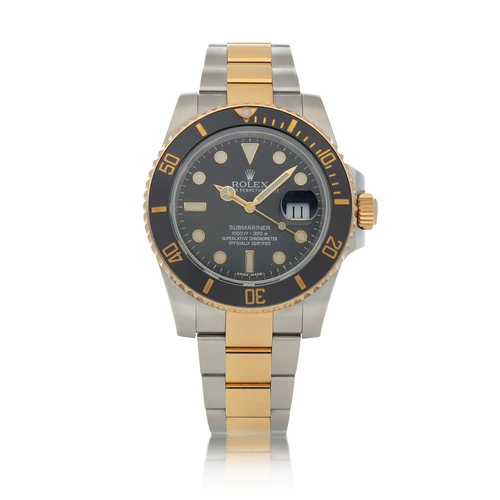 View full screen - View 1 of Lot 416. Submariner, Ref. 116613LN Stainless steel and yellow gold wristwatch with date and bracelet Circa 2015 | 勞力士 116613LN型號「Submariner」精鋼及黃金鍊帶腕錶備日期顯示,年份約2015.