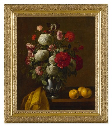 View 2. Thumbnail of Lot 537. FOLLOWER OF JAN FYT   STILL LIFE OF FLOWERS IN A SILVER VASE.