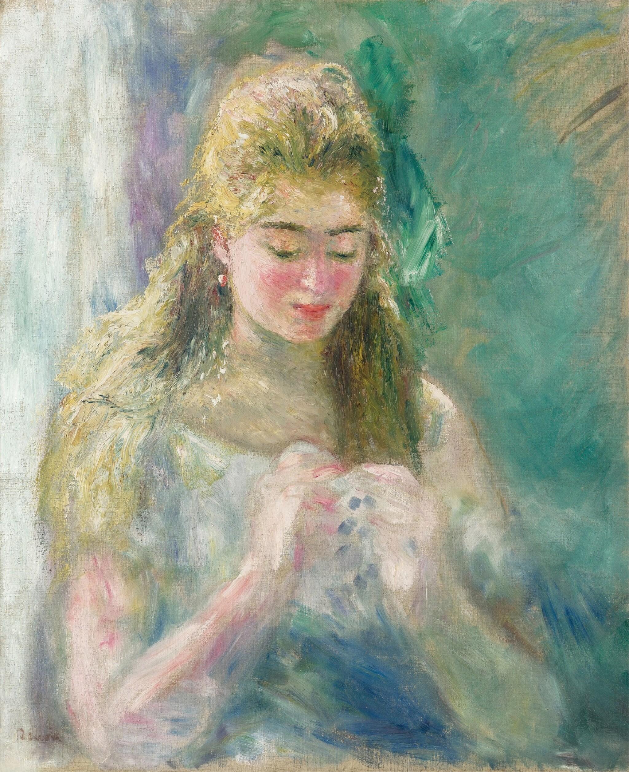 View full screen - View 1 of Lot 1015. Pierre-Auguste Renoir 皮耶・奧古斯特・雷諾瓦 | La couseuse 縫紉的女子.