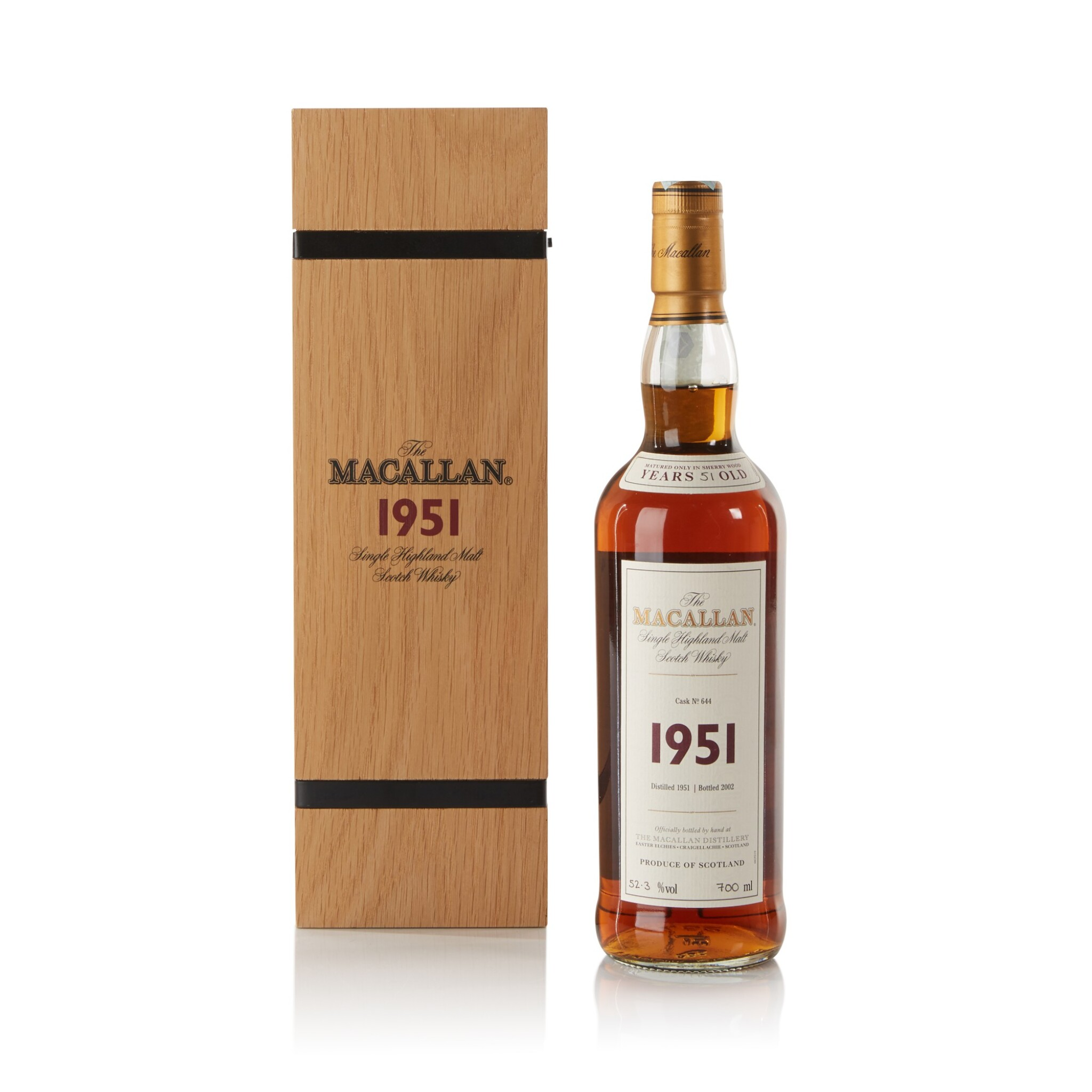 View full screen - View 1 of Lot 34. The Macallan Fine & Rare 51 Year Old 52.3 abv 1951 .