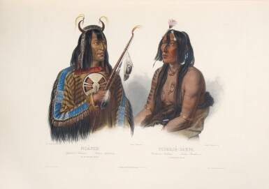 """Bodmer, Karl, and Prince Maximilian zu Wied-Neuwied.Travels in the Interior of North America...A very fine set of the greatest illustrated American travel narrative and the most important depiction of American Indians in the frontier era: the rare English edition, with all 81 plates issued """"superbly colored"""" and on large paper"""