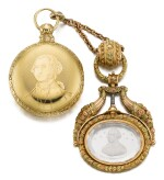 JACOB FOGLE | A GOLD PAIR CASED WATCH WITH STOP SLIDE AND VARI-COLOUR GOLD AND ROCK CRYSTAL CHATELAINE, THE CASE AND CHATELAINE WITH PORTRAIT BUSTS OF GEORGE WASHINGTON CIRCA 1840 [ 黃金懷錶備停秒滑桿、配多色黃金鑲水晶腰鏈,錶殼及腰鏈飾喬治華盛頓頭像,年份約1840]