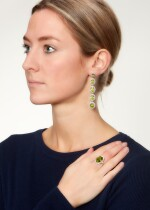 PAIR OF PERIDOT AND DIAMOND EARRINGS AND A RING