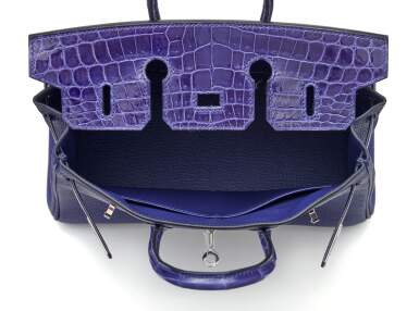 View 6. Thumbnail of Lot 341. Bleu Encre Touch Birkin 25cm in Togo Leather and Shiny Niloticus Crocodile with Palladium Hardware, 2018.