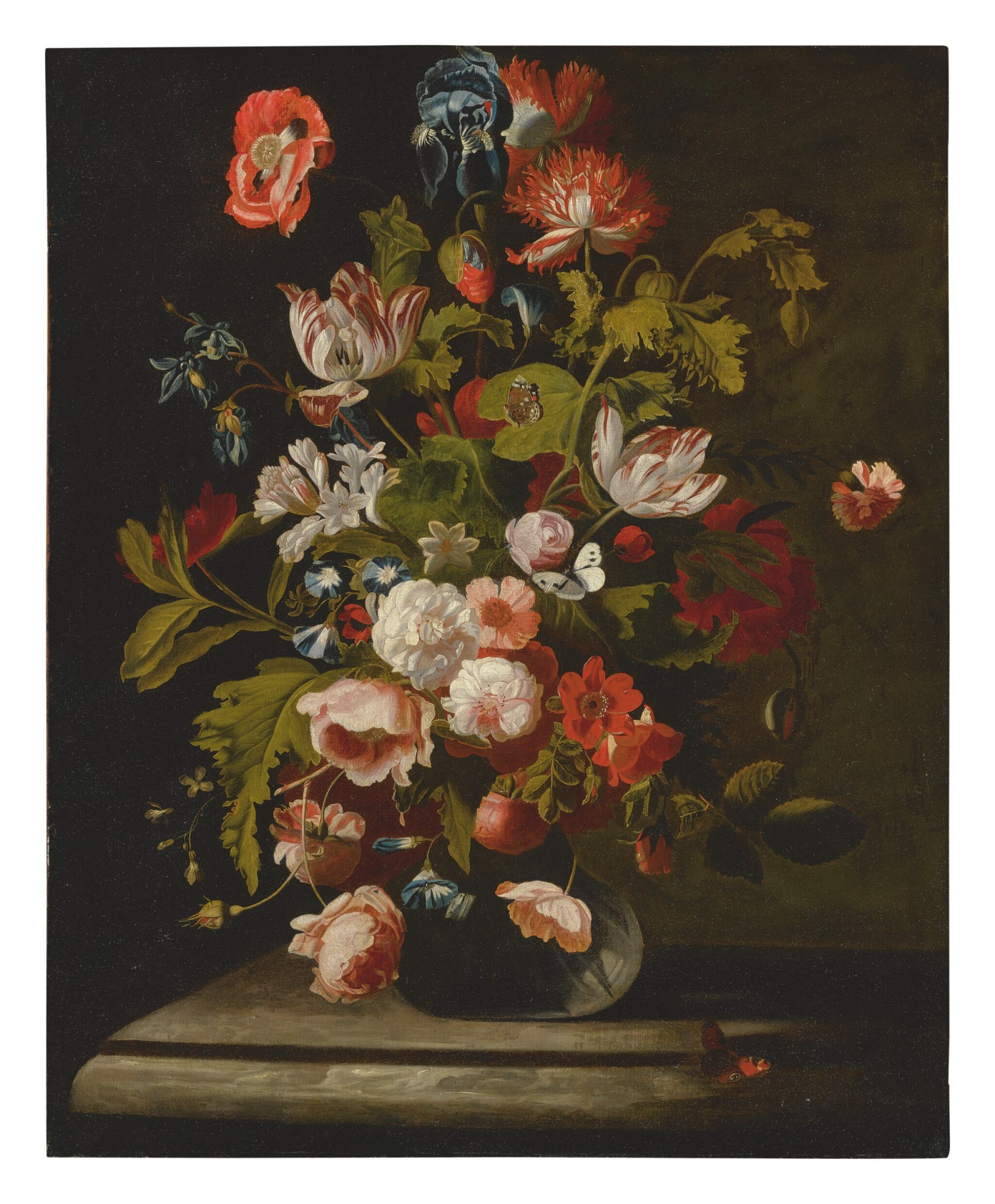 View full screen - View 1 of Lot 562. SIMON PIETERSZ. VERELST   STILL LIFE OF ROSES, TULIPS, AN IRIS AND OTHER FLOWERS, IN A GLASS VASE, RESTING ON A TABLE.