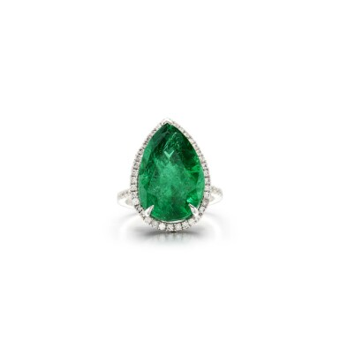 View 1. Thumbnail of Lot 15. EMERALD AND DIAMOND RING.