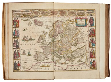 View 2. Thumbnail of Lot 53. BLAEU | Theatrum Orbis Terrarum. Amsterdam, 1640-1654, 5 volumes, folio, contemporary Dutch vellum gilt.