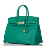 Hermès Vert Vertigo Birkin 35cm of Clemence Leather with Gold Hardware