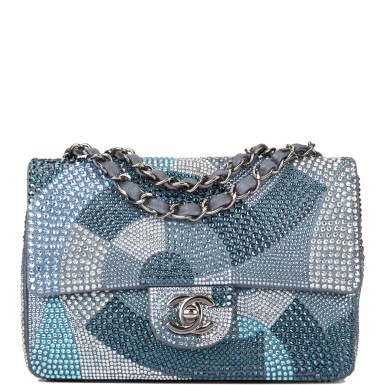 View 1. Thumbnail of Lot 31. Chanel Multicolor Strass Flap Bag of Swarovski Crystals and Grey Leather with Silver Tone Hardware.