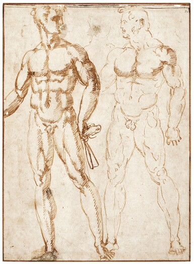 BACCIO BANDINELLI   TWO NUDES, ONE HOLDING A CLOTH