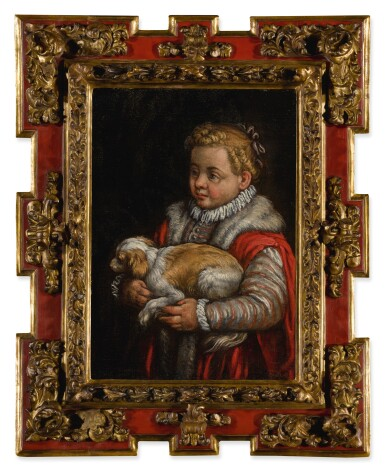 View 2. Thumbnail of Lot 579. Portrait of a young girl with a dog.