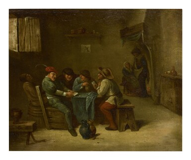 View 1. Thumbnail of Lot 206. JAN H. PEYPERS | AN INTERIOR SCENE WITH PEASANTS PLAYING CARDS.
