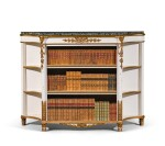 A Regency style painted and parcel-gilt bookcase, late 19th/early 20th century