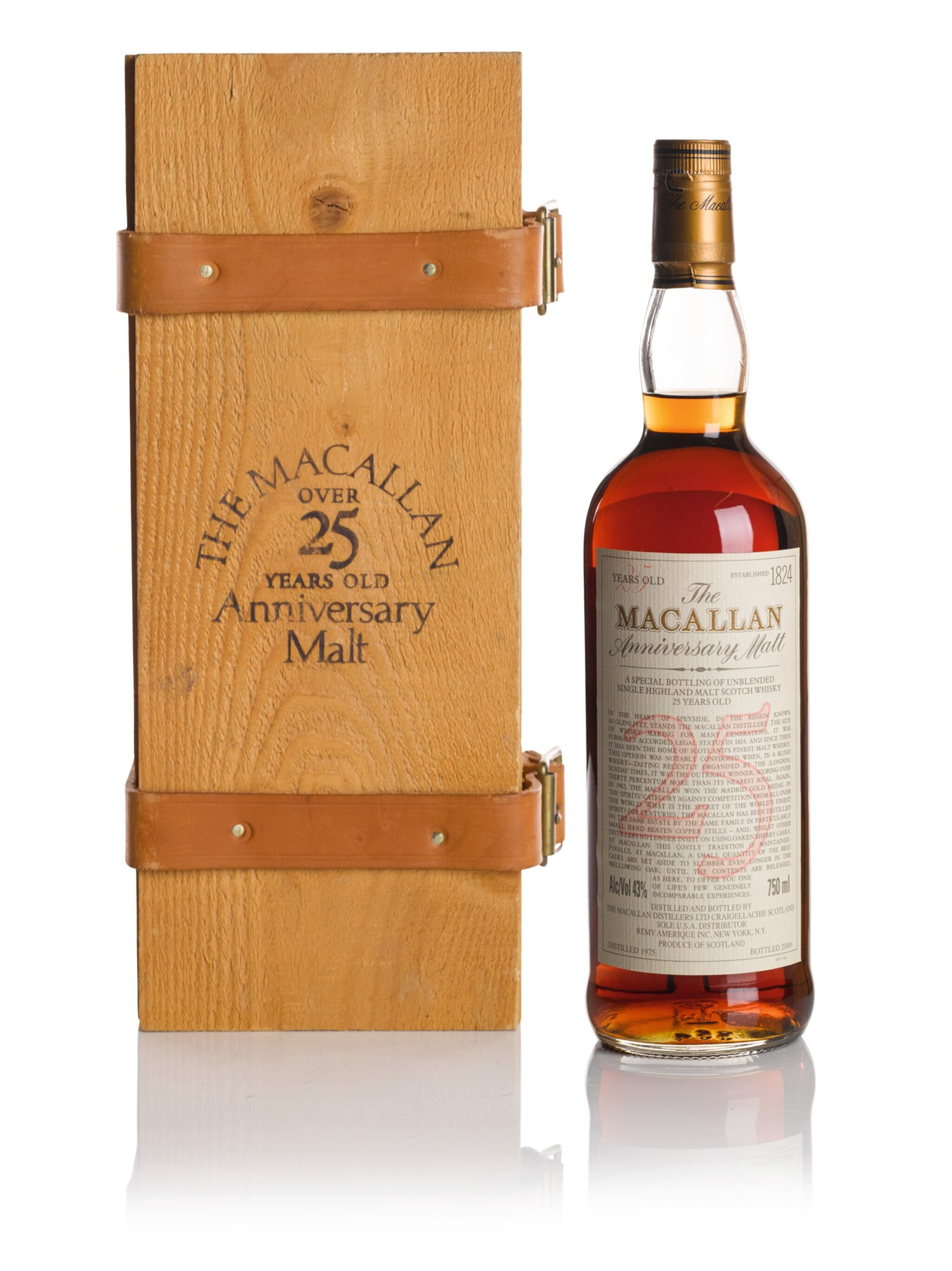 View full screen - View 1 of Lot 37. THE MACALLAN 25 YEAR OLD ANNIVERSARY MALT 43.0 ABV 1975  .