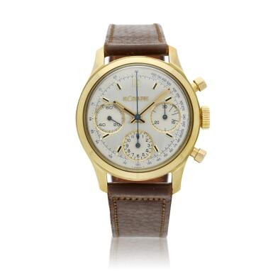 View 1. Thumbnail of Lot 101. A yellow gold chronograph wristwatch, Circa 1955 .