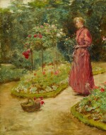Woman Cutting Roses in a Garden