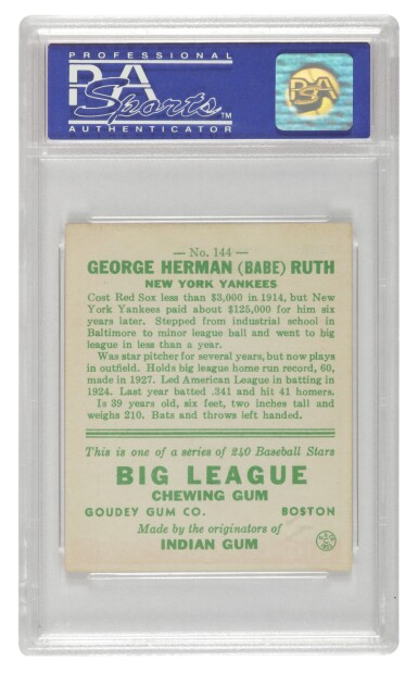 """View 2. Thumbnail of Lot 136. Ruth, George Herman (""""Babe"""") 