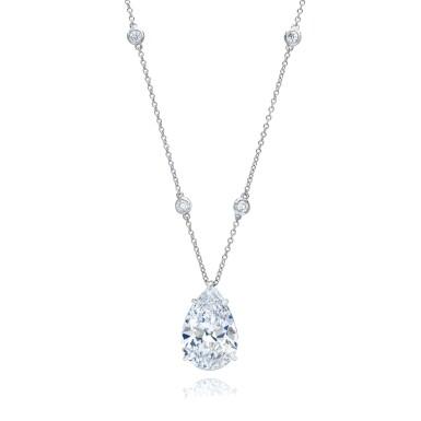 View 1. Thumbnail of Lot 10. Diamond Pendant-Necklace.