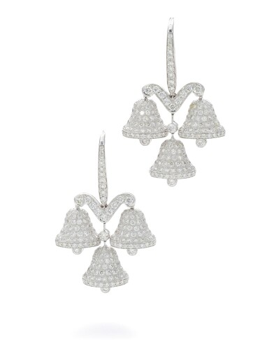 View 1. Thumbnail of Lot 39. MICHELE DELLA VALLE | PAIR OF DIAMOND EARRINGS.