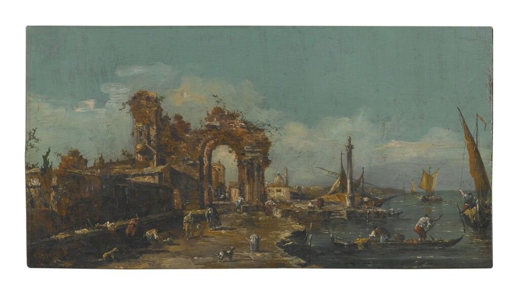 MANNER OF FRANCESCO GUARDI, LATE 19TH CENTURY   A CAPRICCIO VIEW OF A VENETIAN LAGOON, WITH A RUINED ARCH, BOATS, AND FIGURES