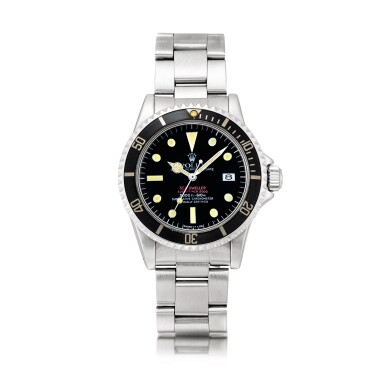 """View 1. Thumbnail of Lot 2141. Rolex   """"Double Red"""" Sea-Dweller, Reference 1665, A stainless steel wristwatch with date and bracelet, Circa 1977   勞力士   """"Double Red"""" Sea-Dweller型號1665  精鋼鏈帶腕錶,備日期顯示,約1977年製."""