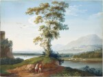 Mountainous river landscape with figures ambling in the foreground
