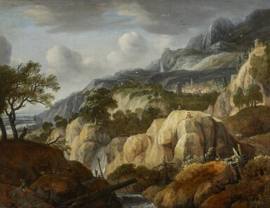 View 1. Thumbnail of Lot 224. JAN LOOTEN | A MOUNTAINOUS LANDSCAPE WITH TRAVELLERS ON A PATH NEAR A WATERFALL AND A DRAUGHTSMAN ON A ROCK, A TOWN BEYOND.