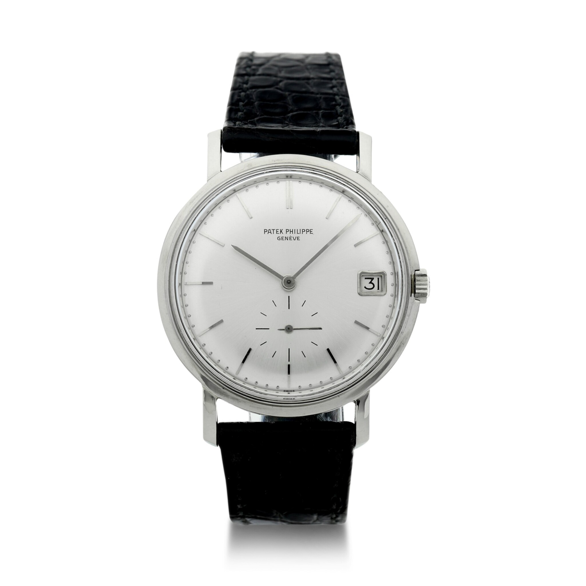 View full screen - View 1 of Lot 145. REFERENCE 3541 A WHITE GOLD WRISTWATCH WITH DATE, MADE IN 1967.