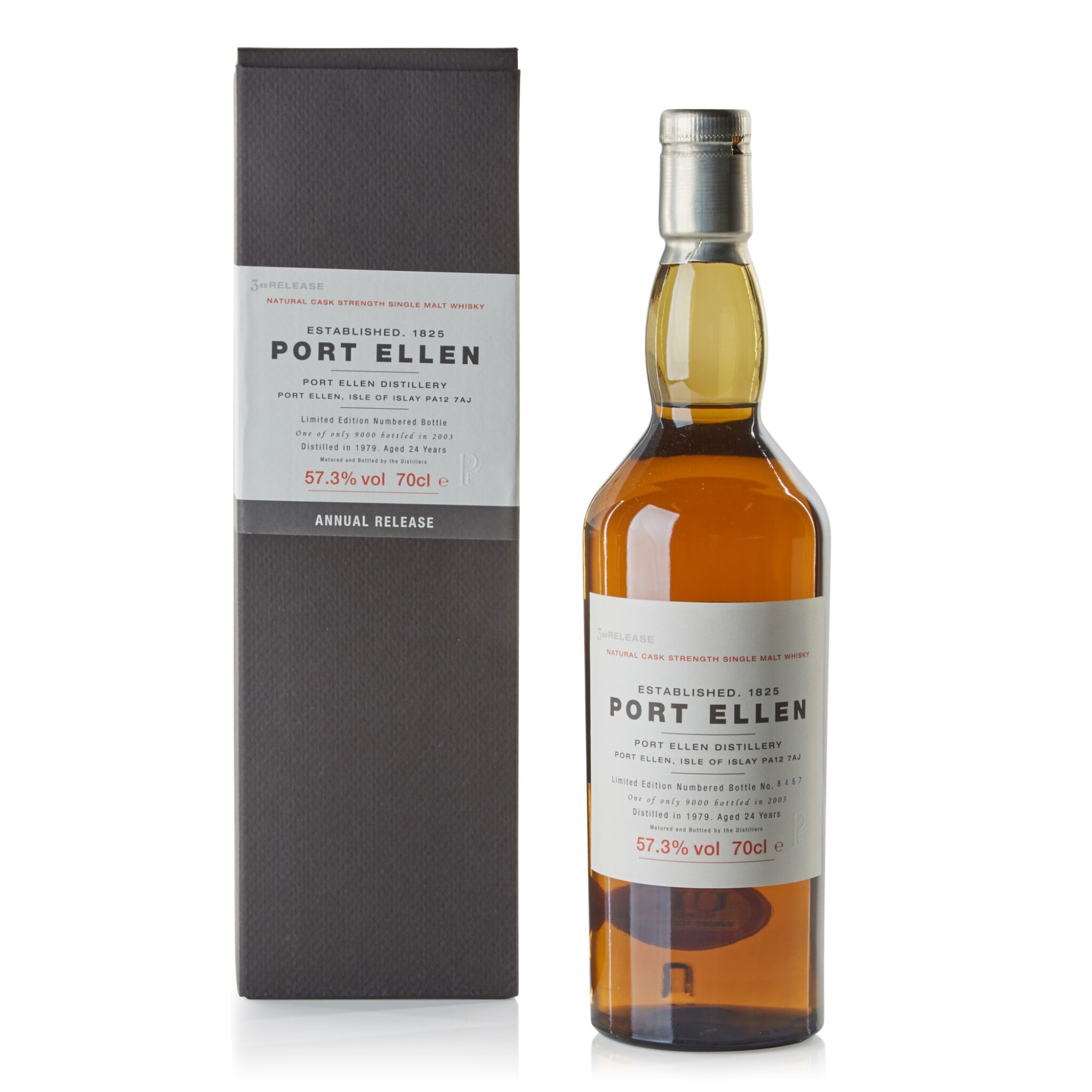 View full screen - View 1 of Lot 103.  Port Ellen Third Annual Release 24 Year Old 57.3 abv 1979 .