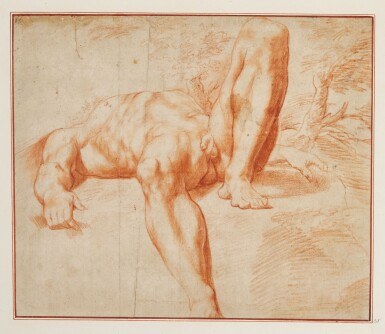 View 1. Thumbnail of Lot 523. ROMAN SCHOOL, EARLY 17TH CENTURY | Reclining male nude.