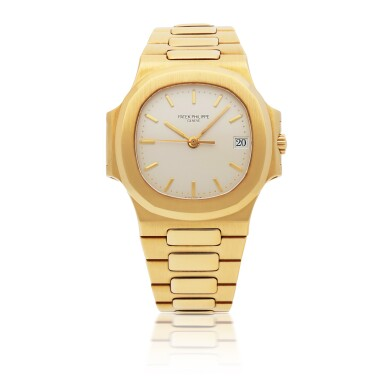 PATEK PHILIPPE | NAUTILUS, REF 3800, YELLOW GOLD WRISTWATCH WITH DATE AND BRACELET CIRCA 1990