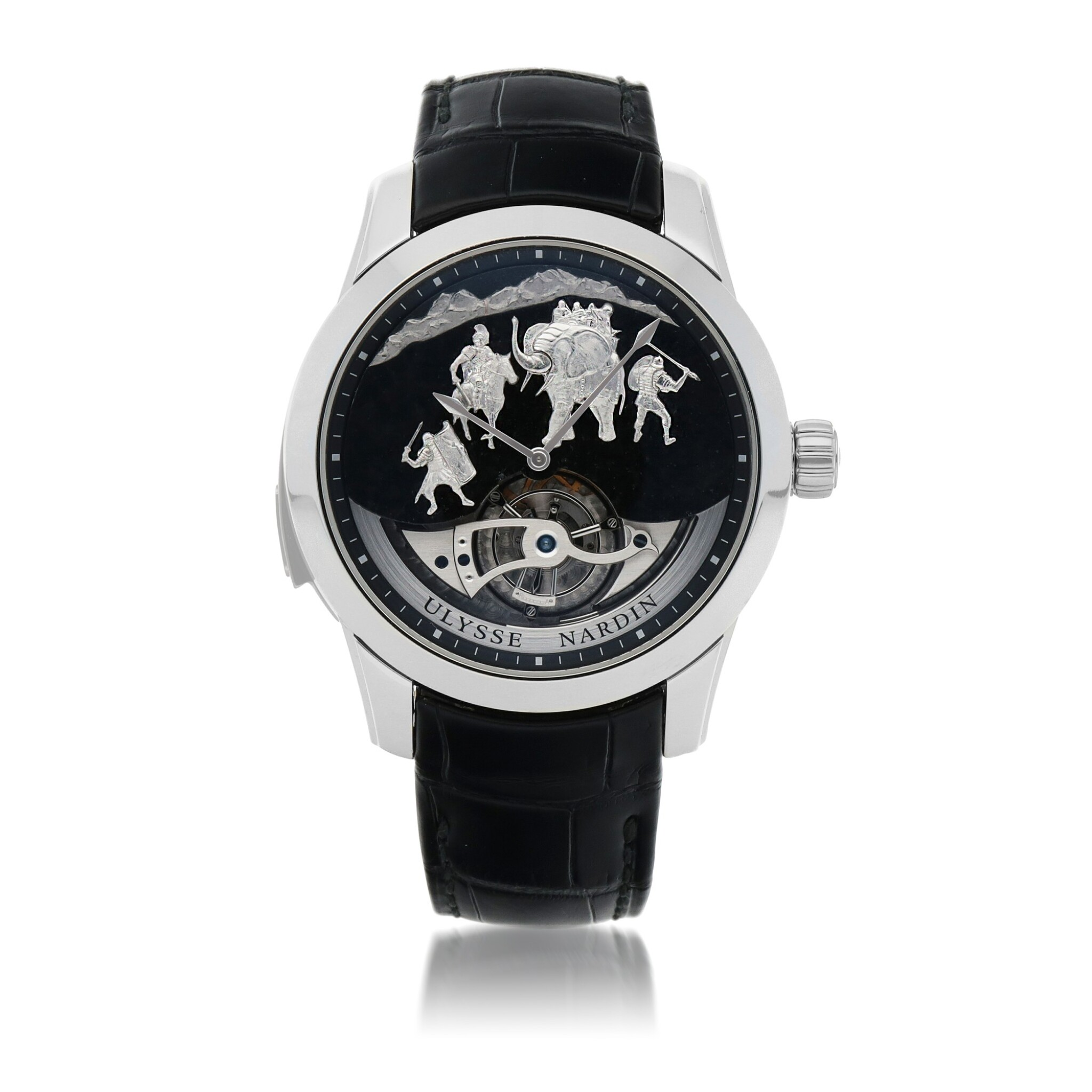 View full screen - View 1 of Lot 426. HANNIBAL, REF 789-00 LIMITED EDITION PLATINUM WESTMINSTER MINUTE REPEATING TOURBILLON WRISTWATCH WITH JAQUEMARTS, GRANITE DIAL AND MATCHING CUFFLINKS CIRCA 2015.