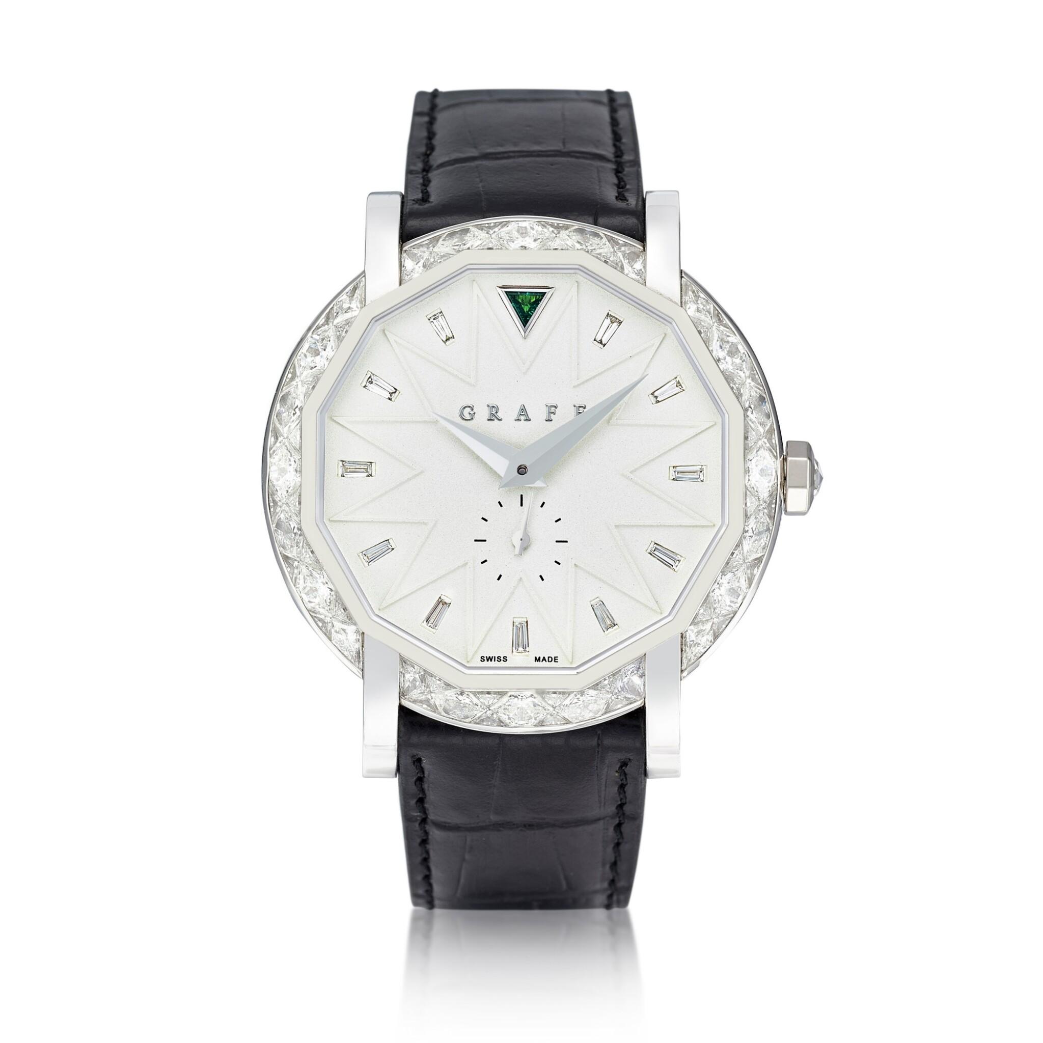 View full screen - View 1 of Lot 1842. 'GraffStar' Limited Edition Diamond and Emerald Wristwatch with Date   格拉夫   'GraffStar' 限量版鑽石 配 祖母綠 自動上鏈腕錶,附日期顯示.